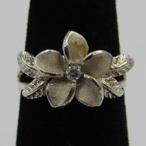 Size 3 Sterling Silver Rustic Floral CZ Band Ring
